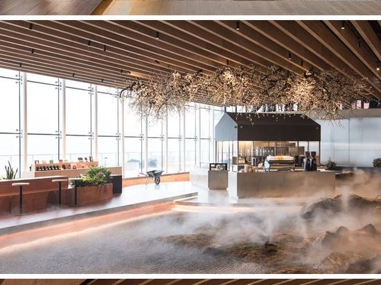 Eine Landschaft aus moosbedeckten Felsen umgibt diese Cafeteria in einer Buchhandlung