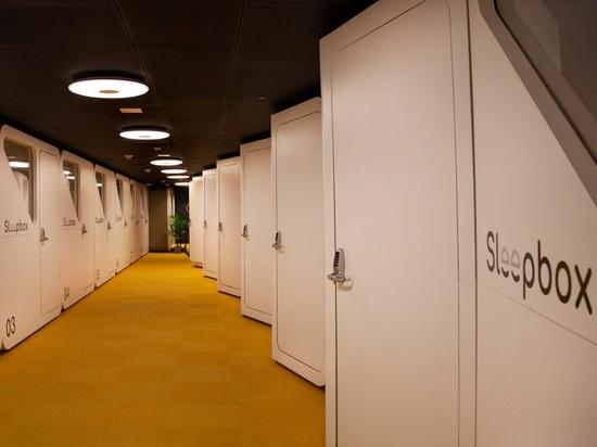 Schlafboxen am Dulles International Airport installiert