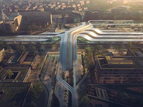 zaha hadid architekten enthüllen tallinn rail terminal, das gleichzeitig als öffentliche brücke dient