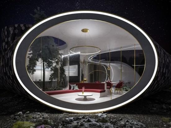 Futuristisches, von Muscheln inspiriertes Haus ist mit wiedergewonnenem Holz verkleidet