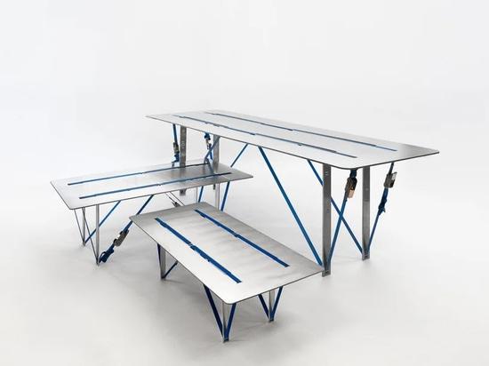 Nebbia Works kombiniert recyceltes Aluminium und Ratschengurte zu einer Serie von 'Spanntischen'