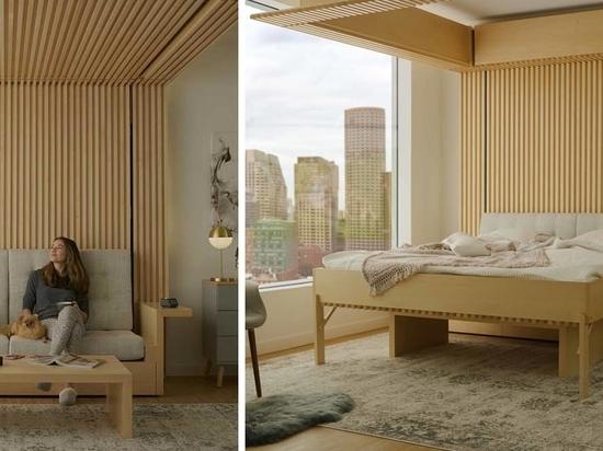 Dieses Bett, das von der Decke herunterfällt, wurde als Lösung für kleine Wohnungen konzipiert