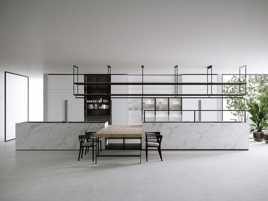 Boffis neuestes Küchen- und Esstischsystem namens Combine, entworfen von Pierro Lissoni.