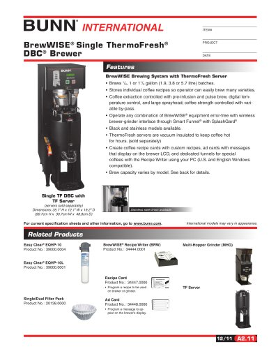 Filter Coffee Bunn: Bunn Thermo Fresh DBC Coffee Brewer