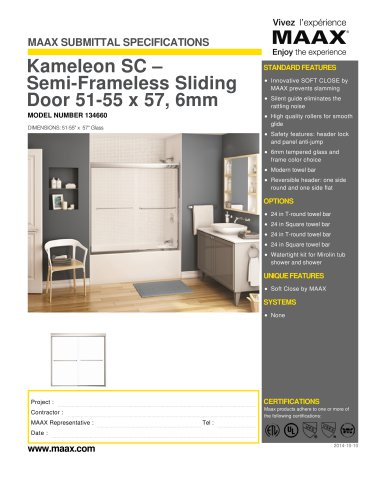 Kameleon SC ? Semi-Frameless Sliding Door 51-55 x 57, 6mm