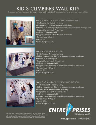 Kids' Climbing Wall Kits Product Sheet
