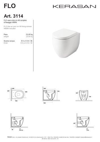 FLO vaso unico cm 48 completo di fissaggio WB5N