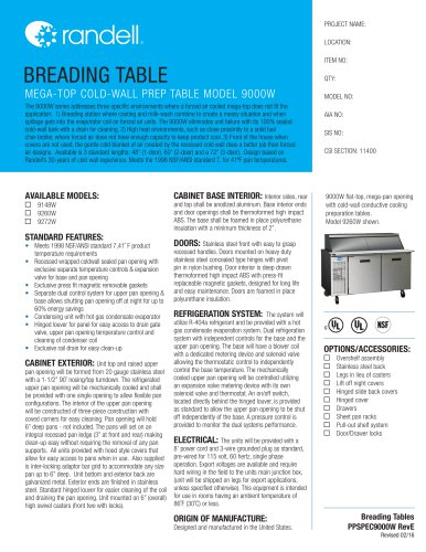 MEGA-TOP COLD-WALL PREP TABLE MODEL 9000W