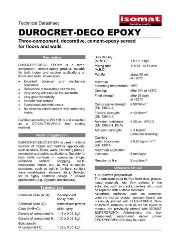 Technical Datasheet DUROCRET-DECO EPOXY