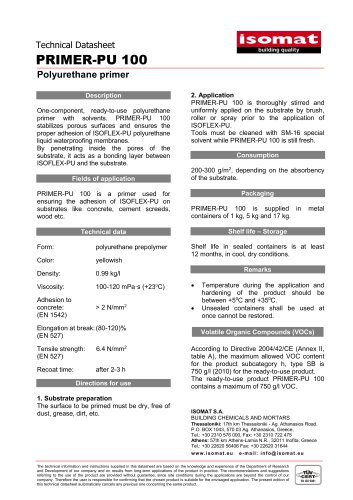 Technical Datasheet PRIMER-PU 100