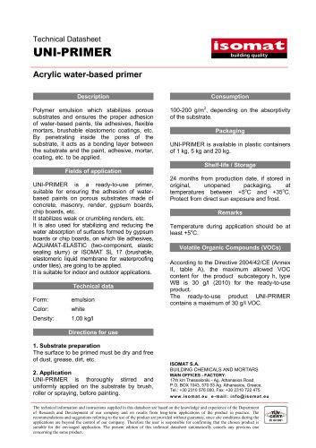 Technical Datasheet UNI-PRIMER