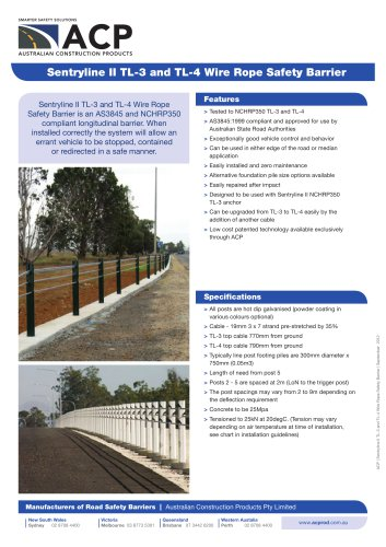 Sentryline II TL-3 and TL-4 Wire Rope Safety Barrier