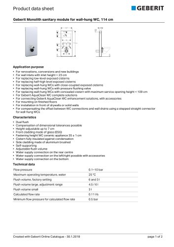 Geberit Monolith sanitary module for wall-hung WC, 114 cm