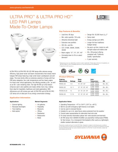 ULTRA PRO™ & ULTRA PRO HD™ LED PAR Lamps Made-To-Order Lamps