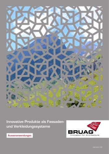 Broschüre Aussenbereichsanwendungen (Hinterlüftete Fassaden, Perforierte Fassaden, Balkonbrüstungen, Balkonakustik, Gartenanwendungen)