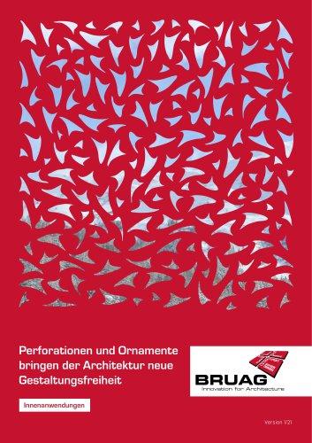 Broschüre Innenbereichsanwendungen (Perforierte Trennwände, Raumteiler, Treppengeländer, Raumakustiksysteme)