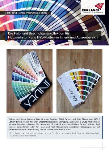 Farbkollektion für Platten der Bruag