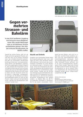 Presseartikel Balkonakustik umneubau Ausgabe 2_2012