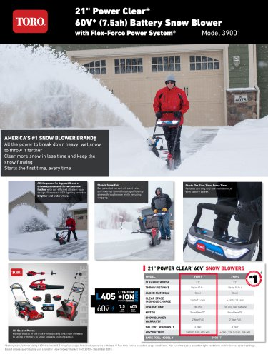 "21"" Power Clear® 60V* (7.5ah) Battery Snow Blower with Flex-Force Power System®"