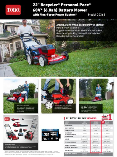 "22"" Recycler® Personal Pace® 60V* (6.0ah) Battery Mower with Flex-Force Power System"
