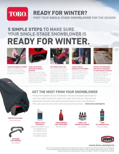 5 SIMPLE STEPS TO MAKE SURE YOUR SINGLE-STAGE SNOWBLOWER IS READY FOR WINTER.