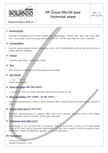 PP Ecopal DN/ID pipe Technical sheet