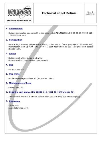 Technical sheet Poliair