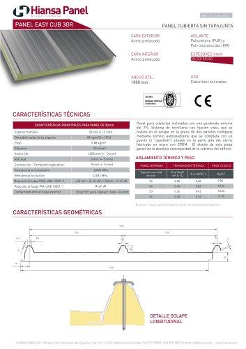 PANEL CUBIERTA EASY CUB 3GR