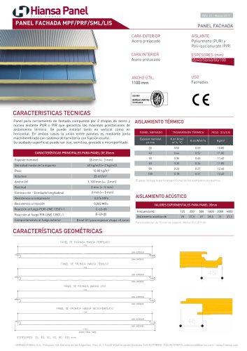 PANEL FACHADA MPF/PRF/SML/LIS