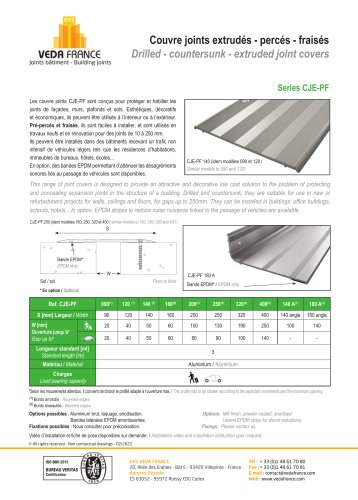 Drilled - countersunk - extruded joint cover - Series CJE-PF