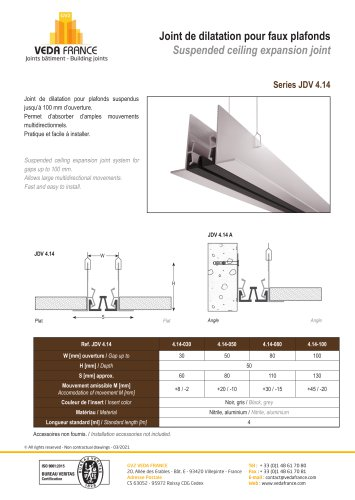 Suspended ceiling expansion joint - JDV 4.14