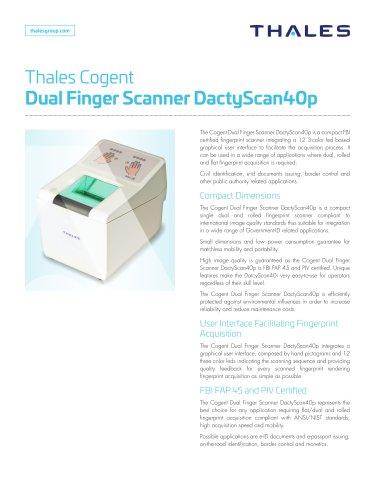Kiosk Hardware - Thales Gemalto Dual Finger Scanner DactyScan40p