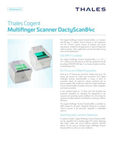 Kiosk Hardware - Thales Gemalto Multi Finger Scanner DactyScan84c