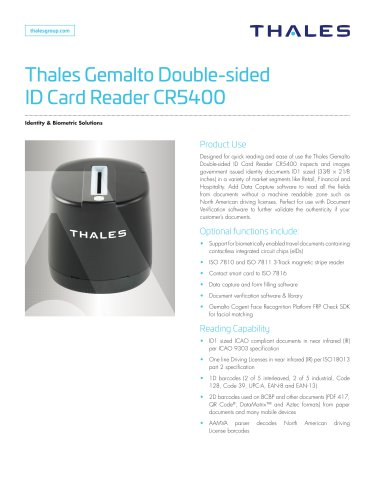 Thales Gemalto Double-sided ID Card Reader CR5400