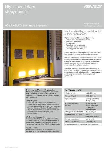 Albany HS8010P high speed door