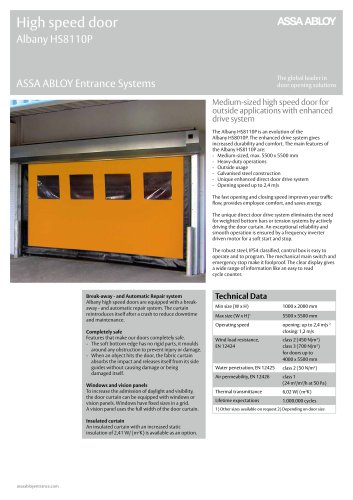 Albany HS8110P high speed door