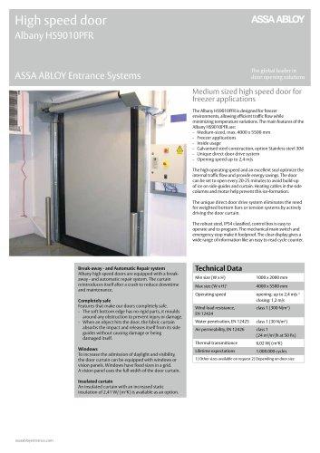 Albany HS9010PFR high speed freezer door