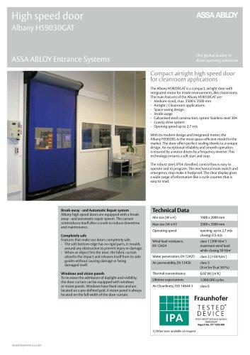 Albany HS9030GAT high speed clean room door