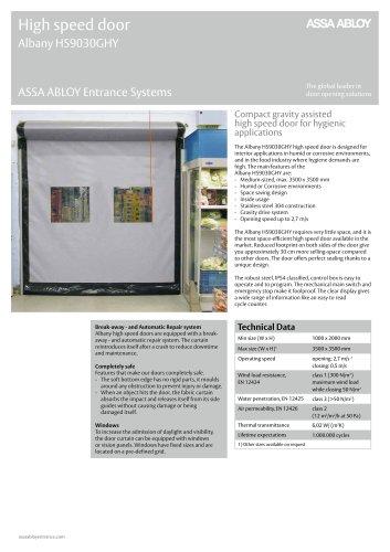 Albany HS9030GHY high speed hygiene door
