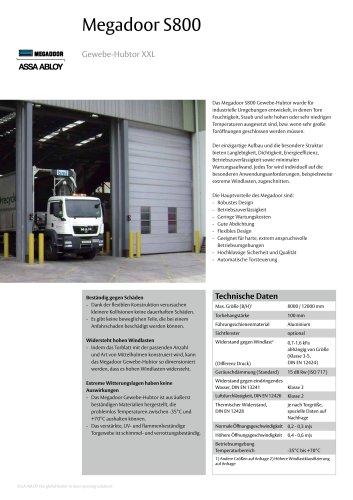 Megadoor S800 vertical lifting fabric door
