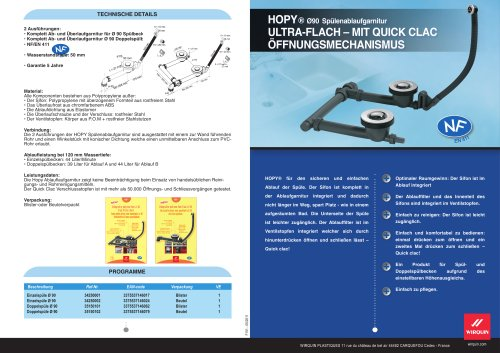 HOPY ø90 spülenablaufgarnitur