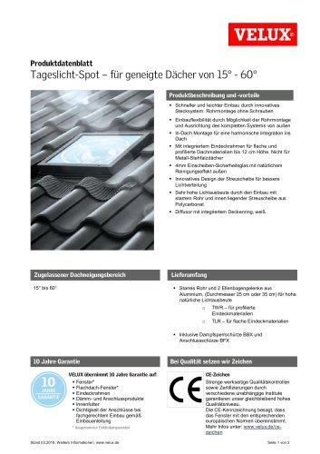 Produktdatenblatt Tageslicht-Spot - für geneigte Dächer von 15° - 60°