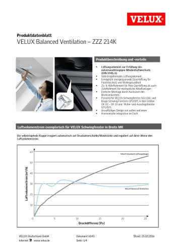 Produktdatenblatt VELUX Balanced Ventilation - ZZZ 214K