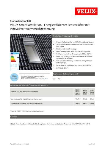 Produktdatenblatt VELUX Smart Ventilation - Energieeffizienter Fensterlüfter mit innovativer Wärmerückgewinnung