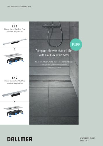 Complete shower channel kits with DallFlex drain body