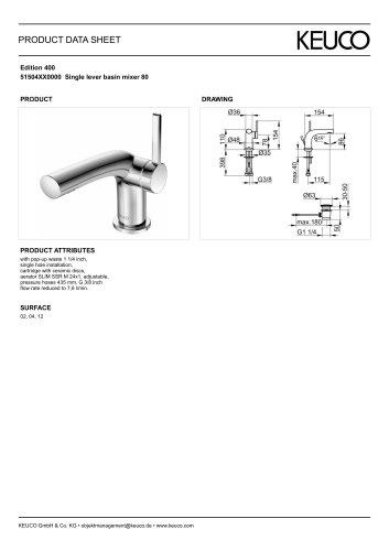 Edition 400 51504XX0000 Single lever basin mixer 80