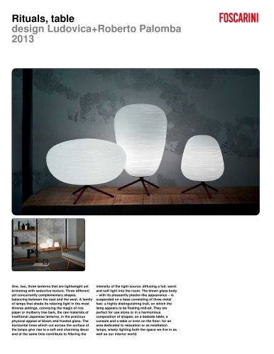 RITUALS by Ludovica & Roberto Palomba
