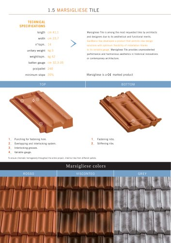 Roof system:Marsigliese tile