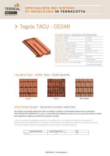 Tegola TACU - CEDAR