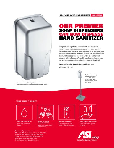 ASI Soap and Hand Sanitizer Dispensers 20364/20365 + Stand